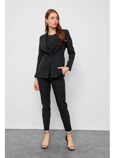 Setre Fuşya Blazer Ceket Pantolon Takım Siyah